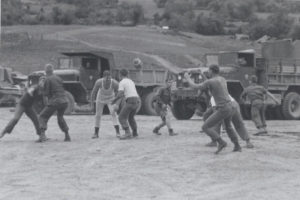 Marine comrades of Keith Burd in the 3rd Battalion, 3/7 Engineers play football during downtime near Da Nang in March 1968 during the Tet Offensive. Today, Burd is the pastor at Pilgrim Presbyterian Church in Kingsville, Maryland. | Courtesy photo