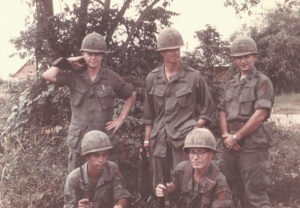 Then Spc. 4 George Mercer, bottom right, poses with members of his first public affairs team in Vietnam in 1967. After leaving the Army, Mercer worked as a civilian at Aberdeen Proving Ground from 1982 to 2012. | Courtesy photo