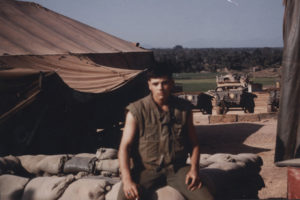 U.S. Marine Keith Burd poses next to his tent in Vietnam for a photo to send home to his family. Today, Burd is the pastor at Pilgrim Presbyterian Church in Kingsville, Maryland. | Courtesy photo