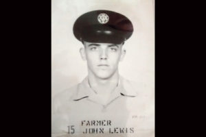 Then a young Air Force recruit, Havre de Grace veteran John Farmer smiles for his basic training photos.