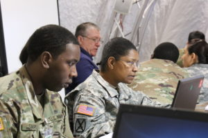 Soldiers from the 25th Infantry Division out of Hawaii participated in the U.S. Army's Cyber Blitz April 2016 at Joint Base McGuire-Dix-Lakehurst, N.J. Cyber Blitz provides the Army a venue to observe and assess cyber and electromagnetic activity-related interactions in a Tactical Command Post. | U.S. Army photo by Kristen Kushiyama