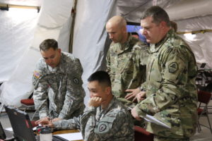 Soldiers from the 25th Infantry Division out of Hawaii and from TRADOC Centers of Excellence participated in the U.S. Army's Cyber Blitz April 2016 at Joint Base McGuire-Dix-Lakehurst, N.J. Cyber Blitz provides the Army a venue to observe and assess cyber and electromagnetic activity-related interactions in a Tactical Command Post.   U.S. Army CERDEC photo by Kristen Kushiyama