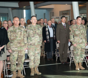 (From left) Maj. Gen. Daniel L. Karbler, outgoing commander; Gen. Daniel B. Allyn, Army vice chief of staff; and Maj. Gen. John W. Charlton, ATEC Commander, sing the Army song at the conclusion of the ATEC change of command ceremony, Dec. 9, 2016 at Aberdeen Proving Ground, Maryland.   U.S. Army photo by Lamont Harbison, USAG APG